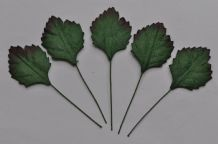 GREEN Oval RHAMBOIDAL (30mm) Mulberry Paper Leaves